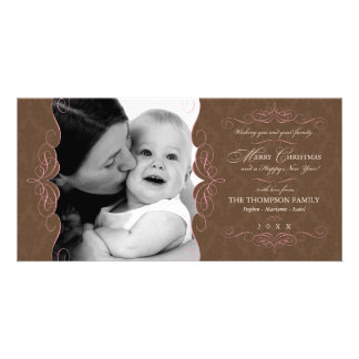 Fancy Scroll Pink & Brown Christmas photo card