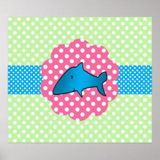 Fancy shark polka dots poster