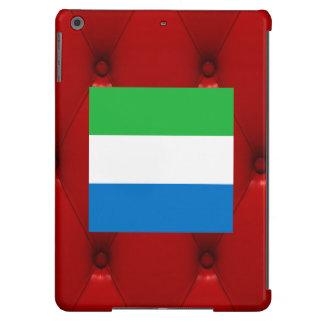 Fancy Sierra Leone Flag on red velvet background iPad Air Covers