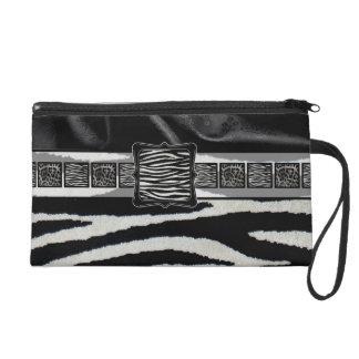 Fancy Silk Zebra Monogram Wristlet Purse