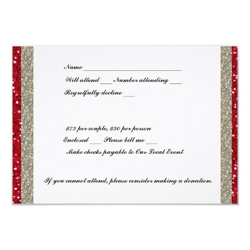 "Fancy Silver and Red Event RSVP 3.5"" X 5"" Invitation Card"