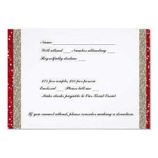 Fancy Silver and Red RSVP Card
