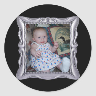 Fancy Silver Frame Add Photo Here Classic Round Sticker