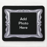 Fancy Silver Frame Add Photo Here Mouse Pads