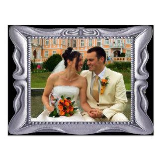 Fancy Silver Frame Add Photo Here Postcard