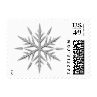 Fancy Silver Glitter Winter Snowflake Postage