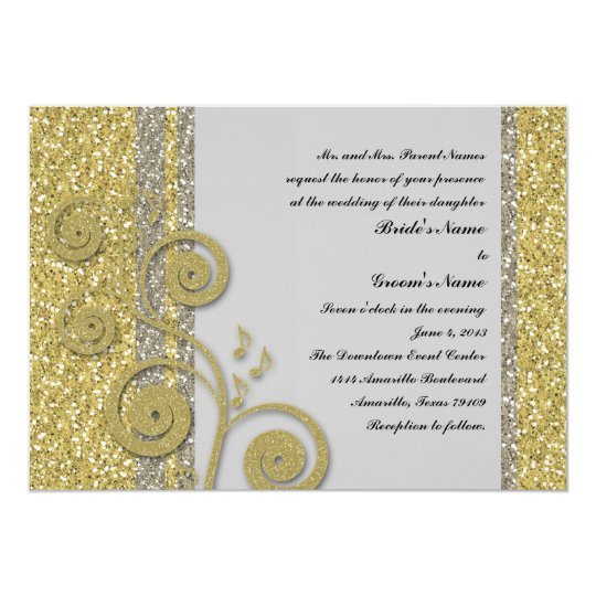 Fancy Silver Gold Glitter Effect Wedding Invite