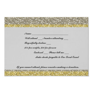 Fancy Silver Gold Glitter Event RSVP Card
