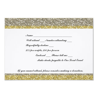 Fancy Silver Gold Glitter Look Event RSVP 3.5x5 Paper Invitation Card