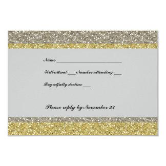 Fancy Silver Gold Glitter RSVP 3.5x5 Paper Invitation Card