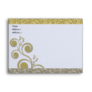 Fancy Silver Gold Glittery Music Envelopes