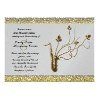 Fancy Silver Gold Sax Music Wedding Invitation