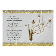 Fancy Silver Gold Sax Music Wedding Invitation