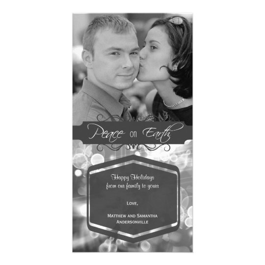 Fancy Silver Peace On Earth Photo Holiday Card