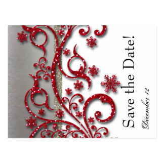 Fancy Silver Red Glitter Save the Date Postcard