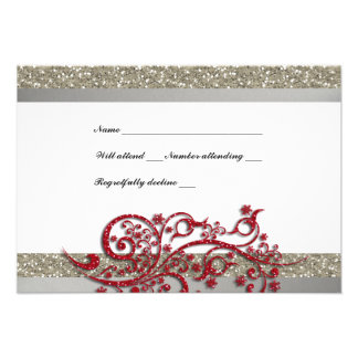 Fancy Silver Red Glitter Snowflakes RSVP Invitations