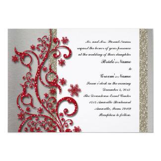 Fancy Silver Red Winter Wedding Invitation