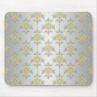 Fancy Silver White and Yellow Damask Mouse Pad