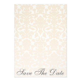Fancy & Simple Beige Damask Save The Date Invitations