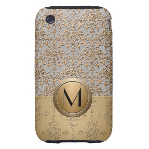 Fancy Simulated Gold and Silver Monogram Damask iPhone 3 Tough Cases