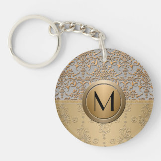 Fancy Simulated Gold and Silver Monogram Damask Keychain
