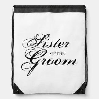 Fancy Sister of the Groom Black Cinch Bag