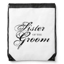Fancy Sister of the Groom Black Drawstring Bag