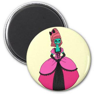 Fancy Skull Lady 2 Inch Round Magnet