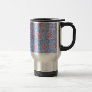fancy sky Blue Paisley design Travel Mug