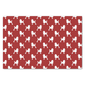 """Fancy Standard Poodle Silhouettes Pattern Red 10"""" X 15"""" Tissue Paper"""
