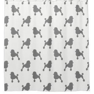 Fancy Standard Poodle Silhouettes Pattern Shower Curtain