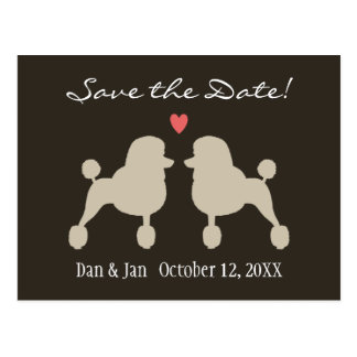 Fancy Standard Poodles Wedding Save the Date Post Cards