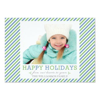 Fancy Stripe Blue Green Photo Holiday Flat Cards