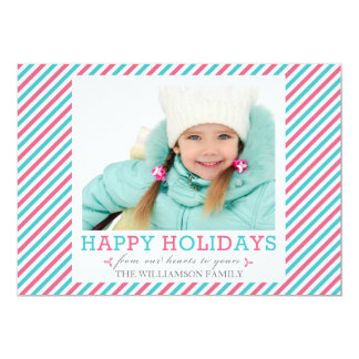 Fancy Stripe Pink Aqua Photo Holiday Flat Cards