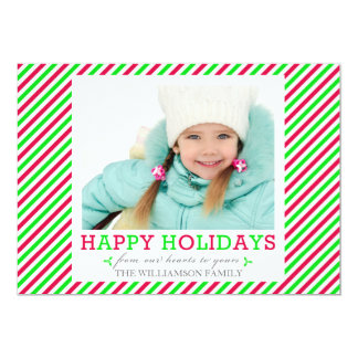 Fancy Stripe Red Green Photo Holiday Flat Cards