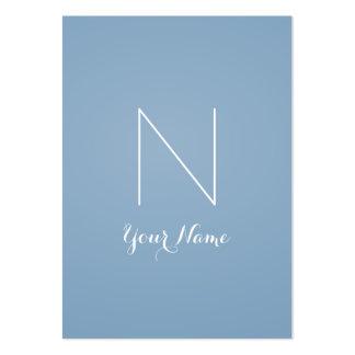 Fancy Stunning Monogrammed Dusk Blue and Titanium Large Business Card