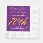 [ Thumbnail: Fancy Style 70th Birthday Paper Napkins ]