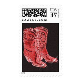 Fancy Style Rodeo Cowboy Western Boots On Stamps