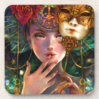 Fancy Surreal Masquerade Party Girl Art Drink Coasters