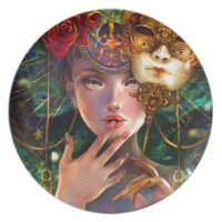 Fancy Surreal Masquerade Party Girl Art Party Plates