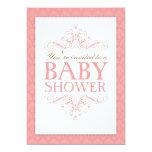 "Fancy Sweet Pink Baby Shower Swirl Invitation 5"" X 7"" Invitation Card"