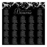 Fancy Swirl Black Damask Reception Seating Chart Poster