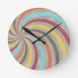 fancy swirl colorful design to brighten the day round clock