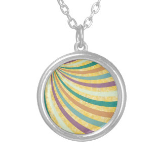 fancy swirl colorful design to brighten the day silver plated necklace