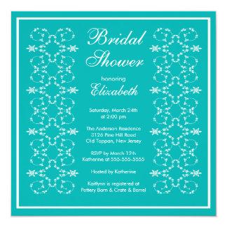 Fancy Swirls Frame Bridal Shower Invitation Blue