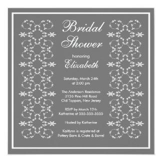 Fancy Swirls Frame Bridal Shower Invitation Grey