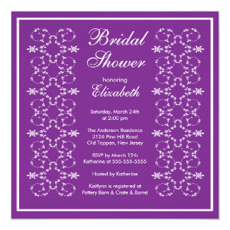 Fancy Swirls Frame Bridal Shower Invitation Purple