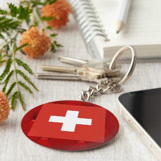 Fancy Switzerland Flag on red velvet background Keychain