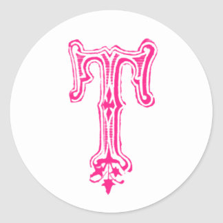 Fancy T Monogram - Pink Classic Round Sticker