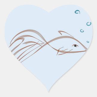 Fancy tailed goldfish heart sticker